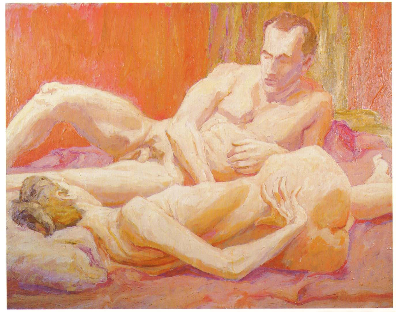 "1961 Reclining Male and Female Modesl Oil on Canvas 44"" x 56"""
