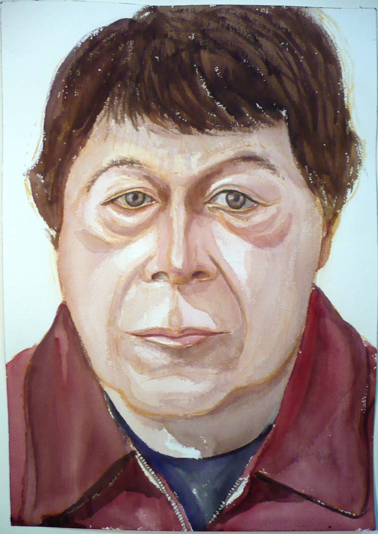 "2007 Portrait of Bob Lambiente watercolor on paper 20"" x 14"""