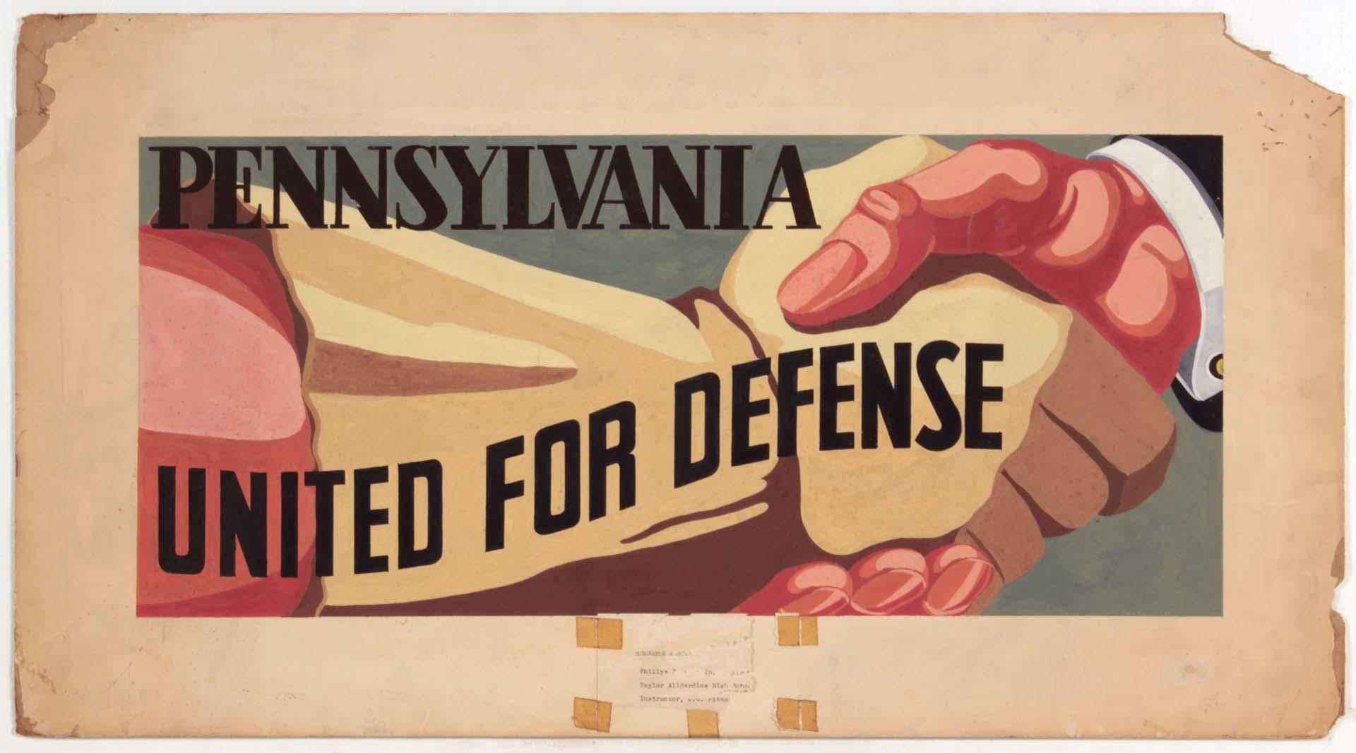 "1941 Pennsylvania United for Defense Casein on Paper 18"" x 33"""