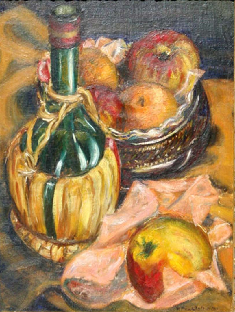 1940 Still Life with Fruit and Chianti Bottle Oil on board 16 x 12