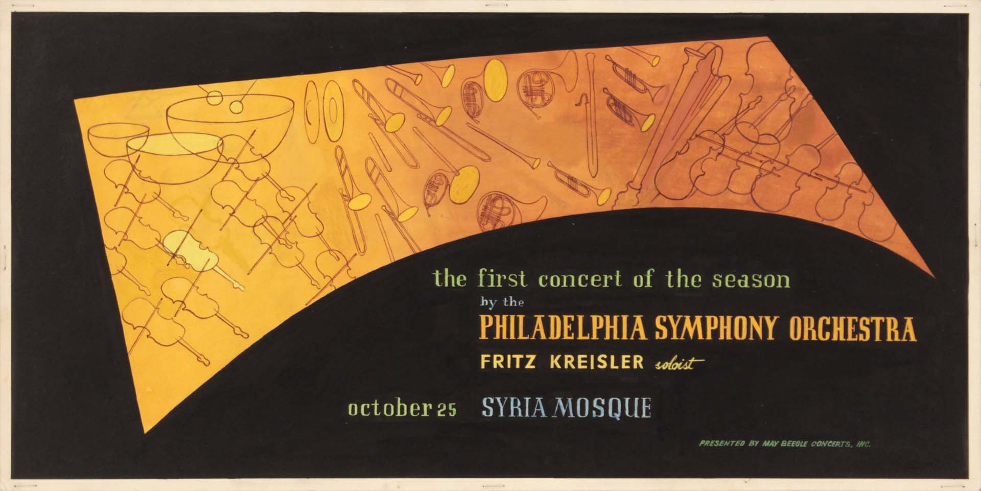 "1949 Image 48 Philadelphia Symphony Orchestra Poster Paint on Board 10"" x 20.125"""