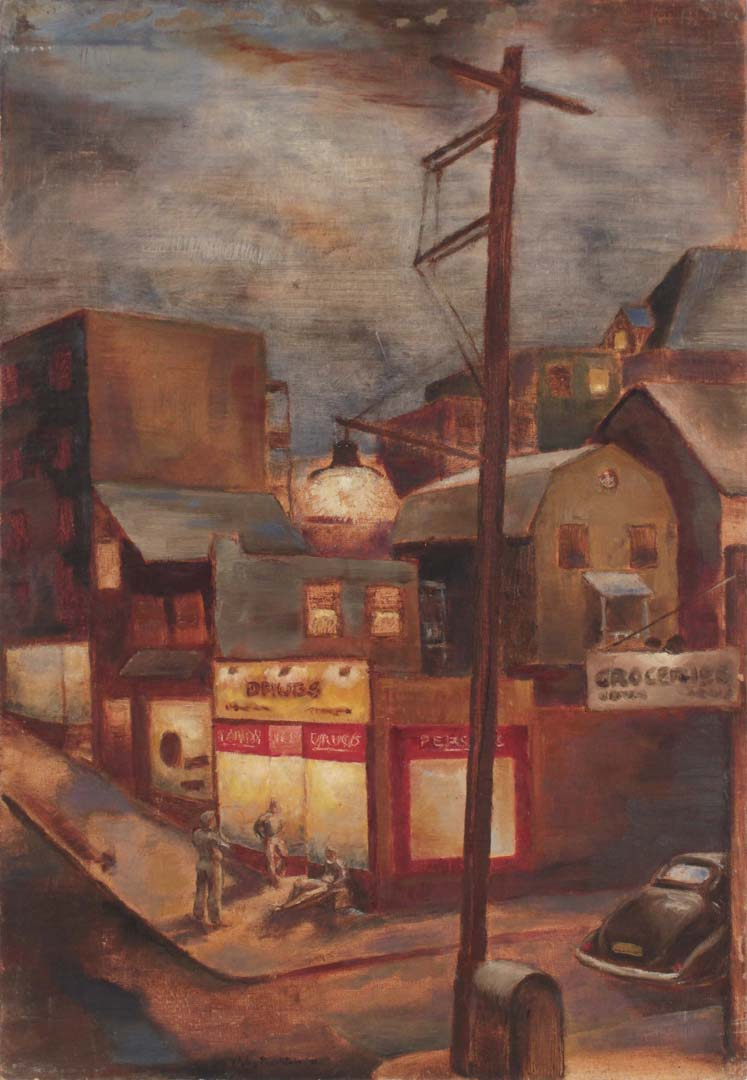 "1942 Street Corner in Pittsburgh Oil on Board 24"" x 16.50"""