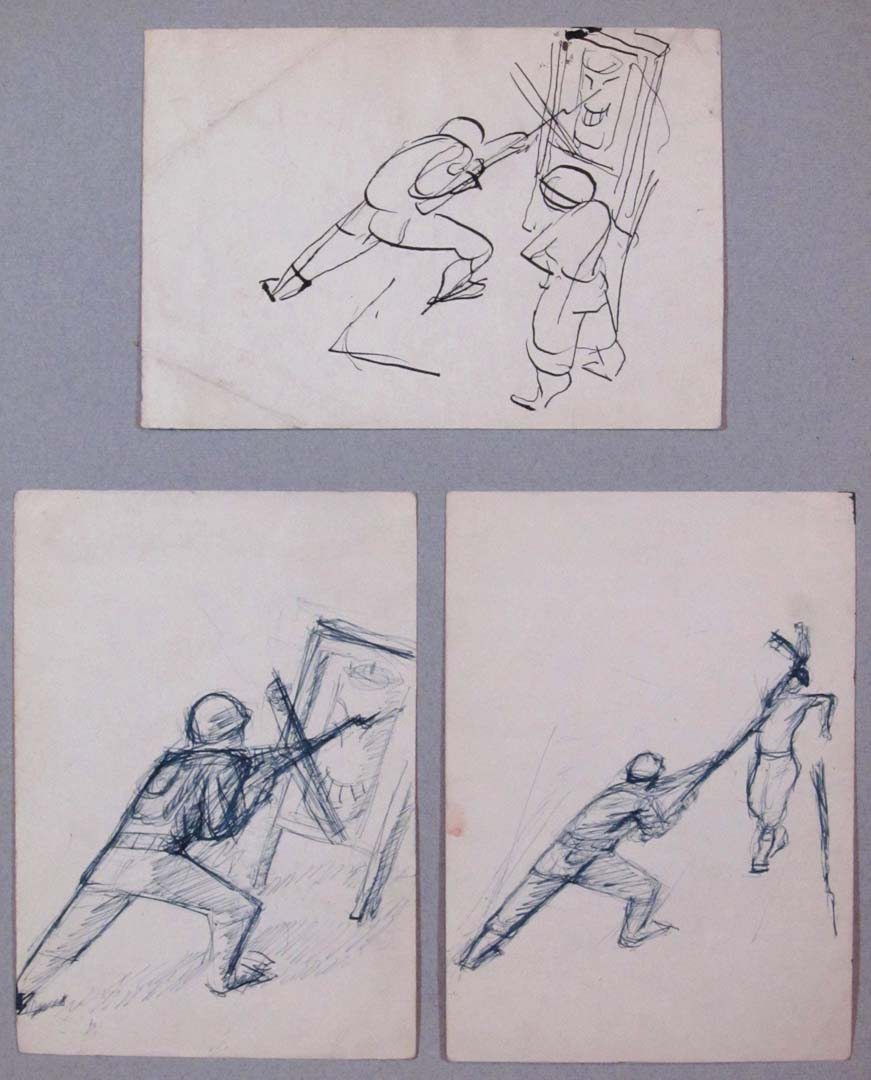 "1943 Bayonet Practice Drawing 4.75"" x 6.75"" top 6.75"" x 4.75"" bottom"