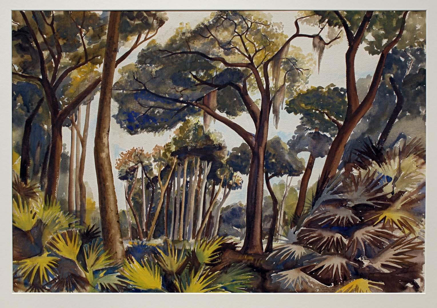 """1943 Swamp Camp Blanding Florida Watercolor 22.75"""" x 31"""""""