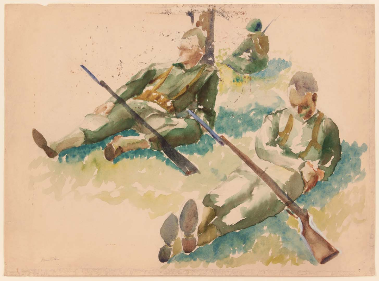 "1943 Training In Florida (3 Soldiers Resting) Watercolor on Paper 15"" x 20.50"""