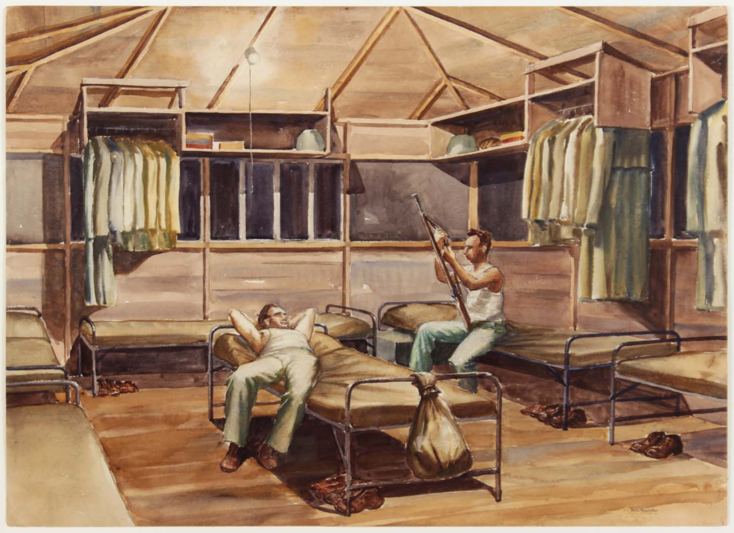 "1943 Two Soldiers in Hut Camp Blanding [#28] Watercolor on Paper 21.25"" x 29.5"""