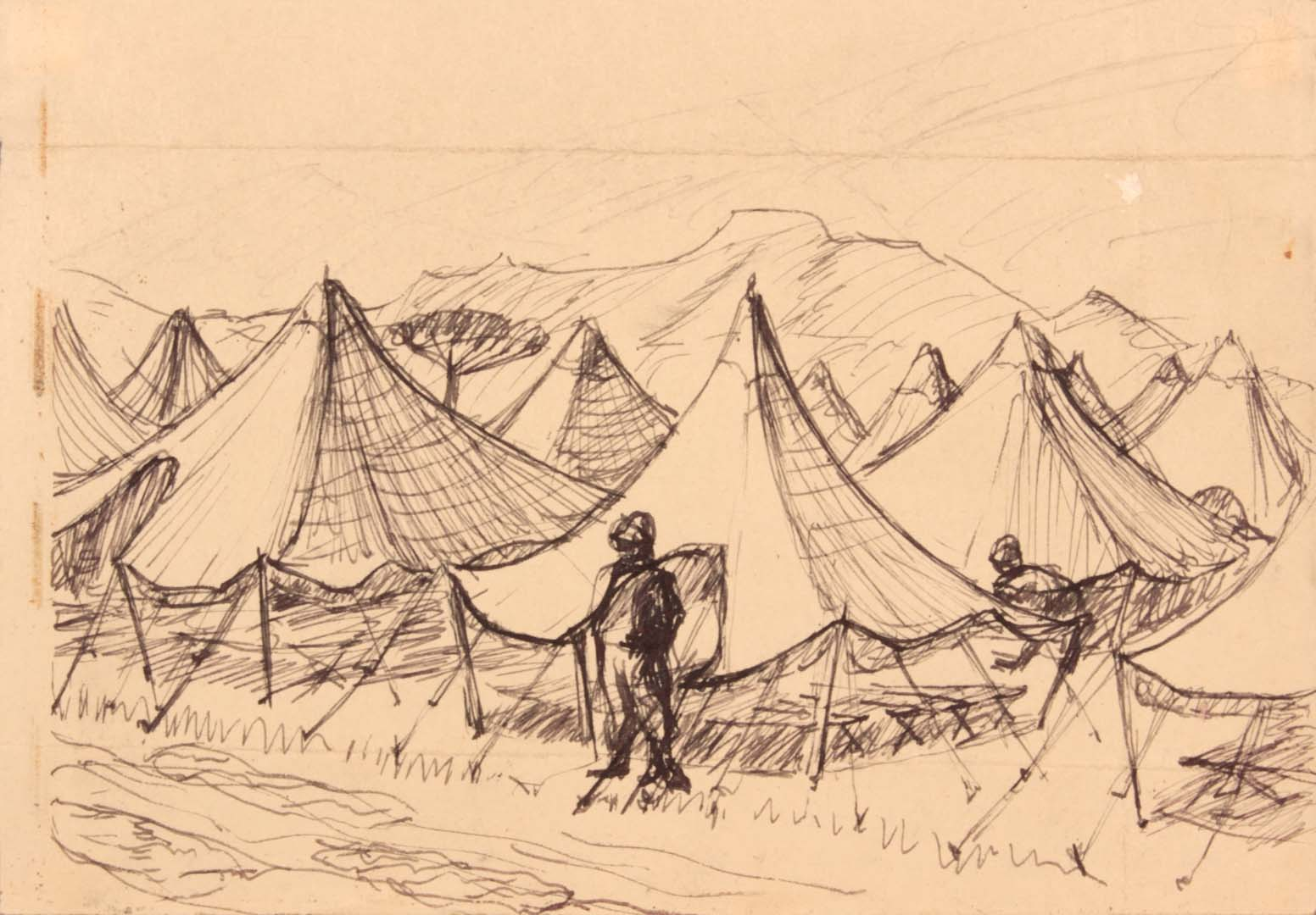 """1944 Caserta Italy VII (Tents) Pen and Ink on Paper 4.50"""" x 6.3125"""""""
