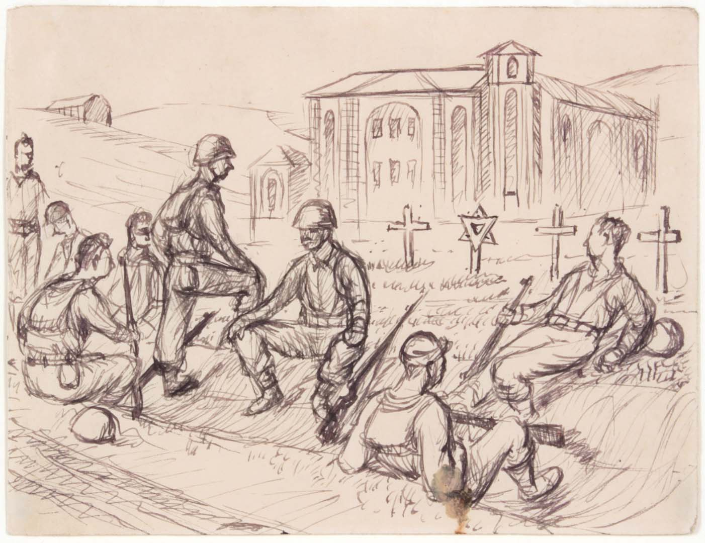 1944 Resting Near Rome (Cemetery) Pen and Ink on Paper 4.8125 x 6.3125