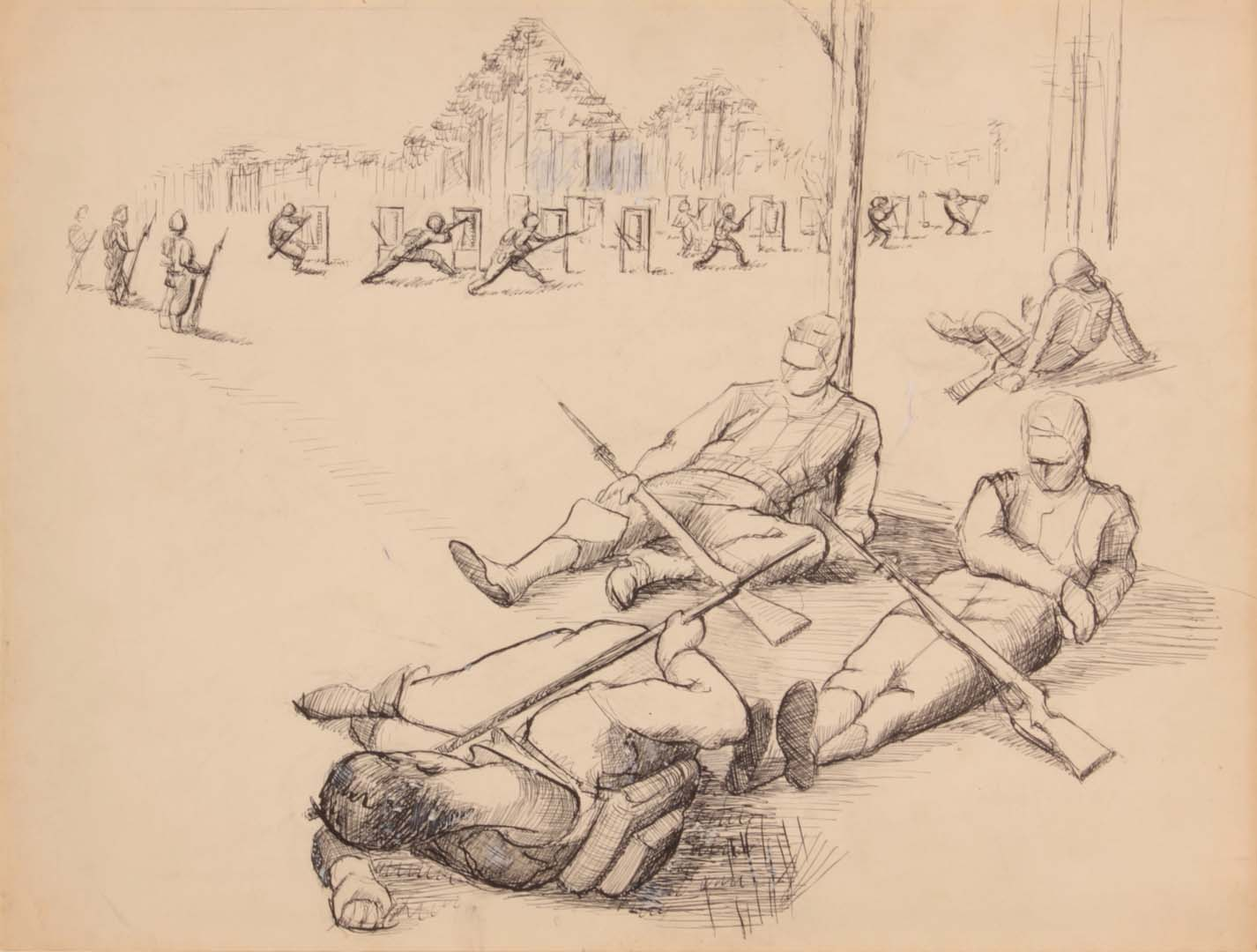 "1944 Soldiers Resting (Study for Bayonet Practice) Pen and Ink on Paper 10.6875"" x 13.9375"""