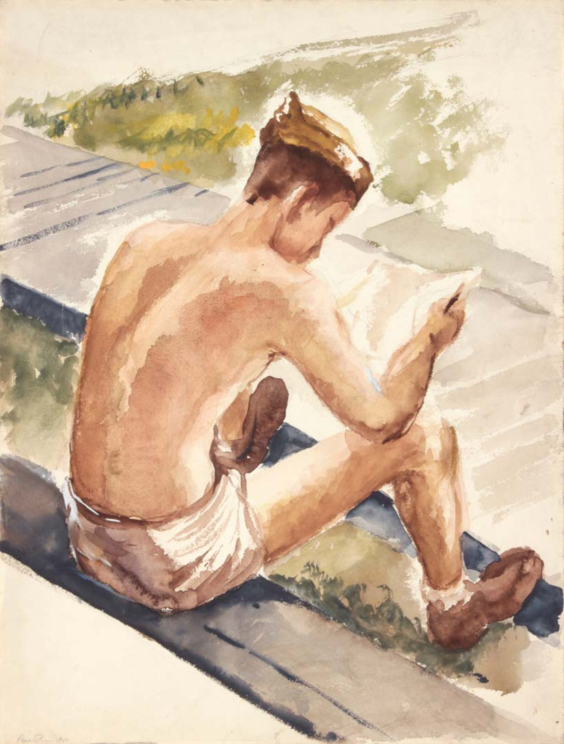 "1944 Training In Florida (Soldier Reading Letter) Watercolor on Paper 16"" x 12"""