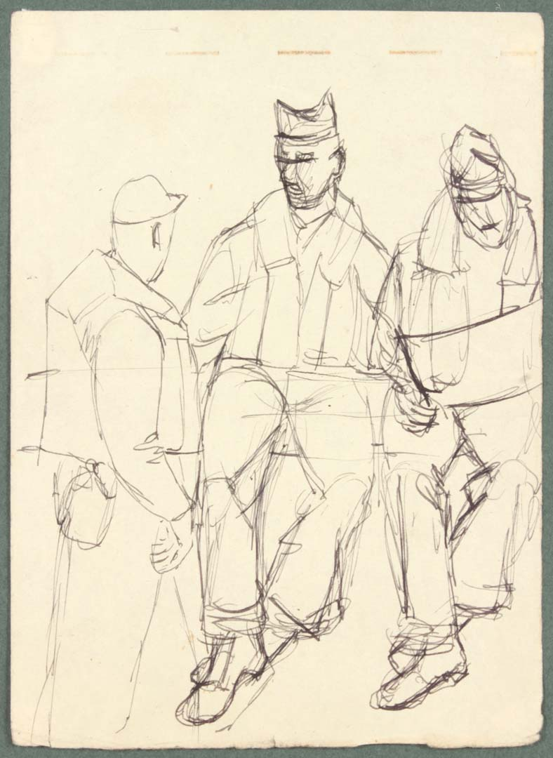 "1944 NT (3 soldiers one reading) Pen and Ink on Paper 6.625"" x 4.8125"""