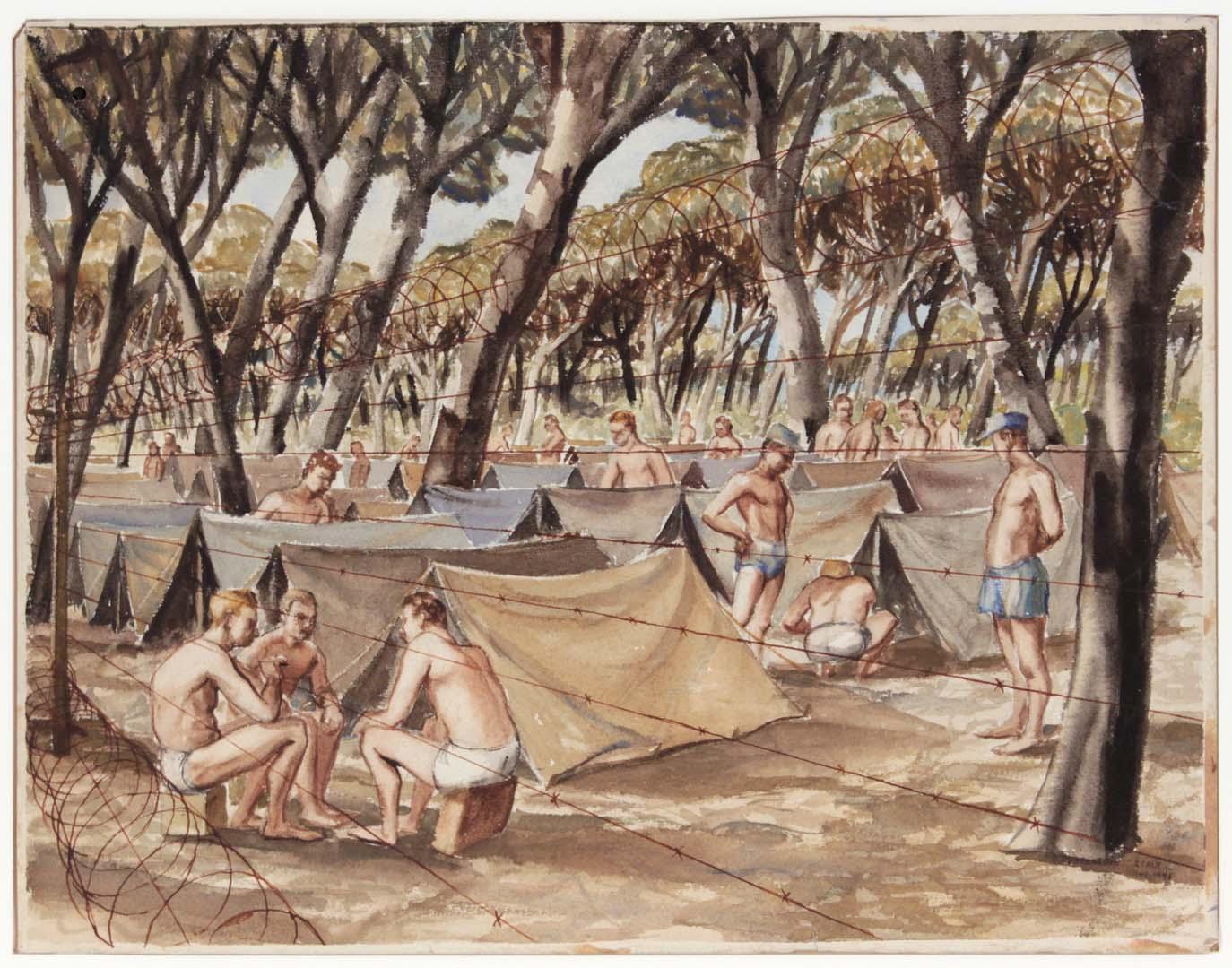 "1945 (German Prisoners of War) Watercolor 13.875"" x 17.875"""