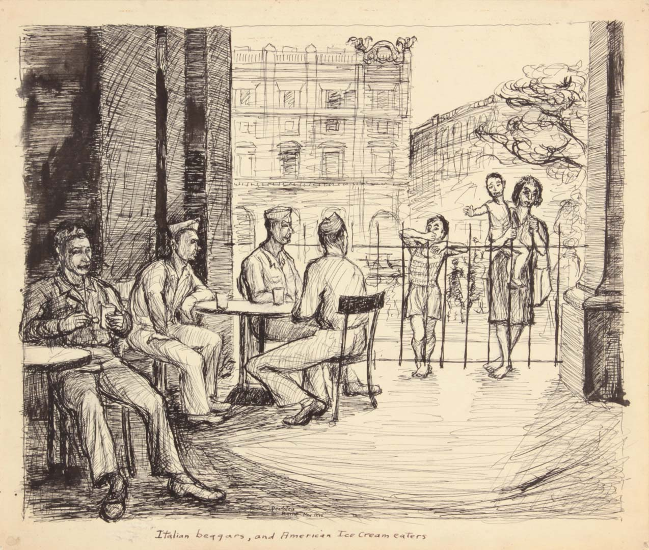 1945 Rome Italy VIII Italian Beggars And American Ice Cream Eaters Pen and Ink on Paper 9.9375 x 11.75