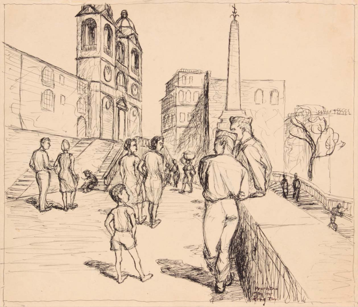 "1945 Soldiers in Rome (Spanish Steps) Ink on Paper 4.75"" x 6.25"""