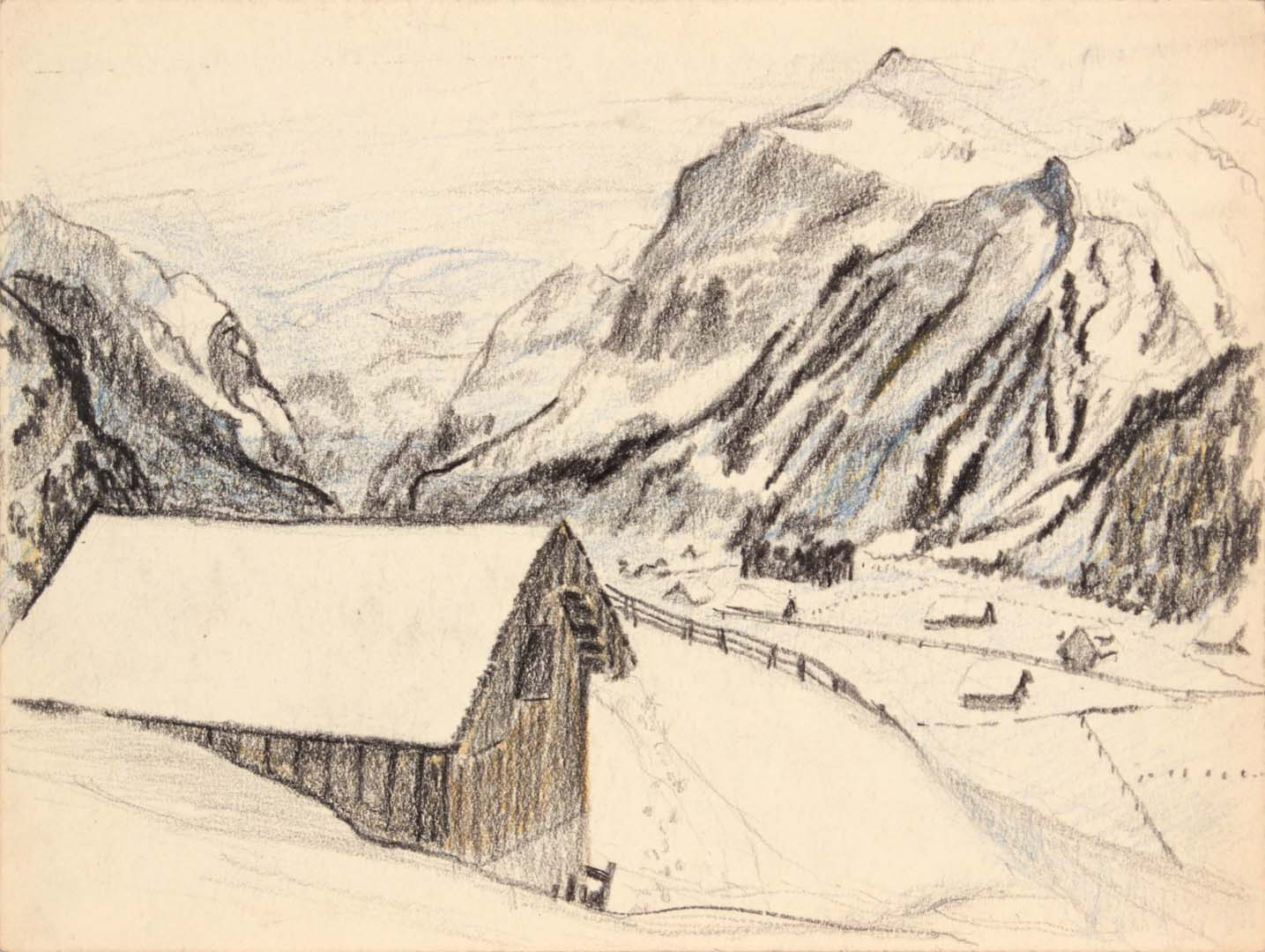 "1945 Switzerland I Crayon 9"" x 11.875"""