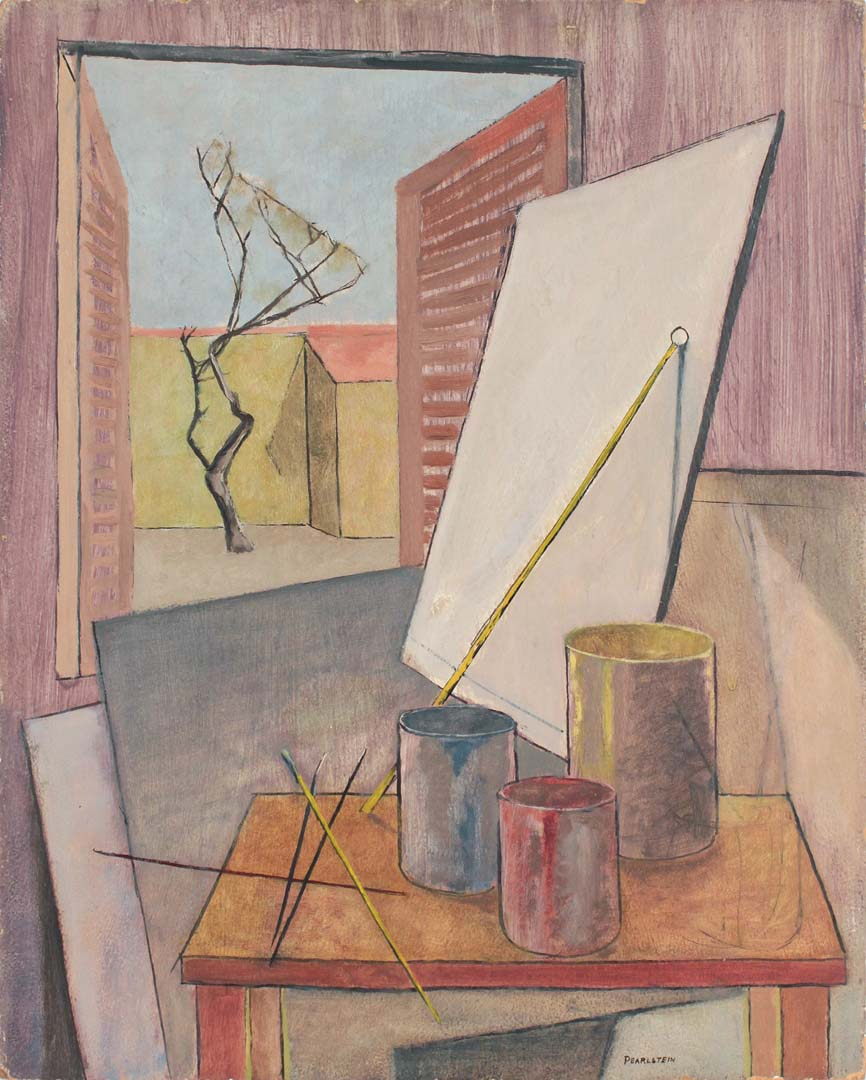 "1947 Still Life Sign Shop in Italy Oil on Board 20"" x 16"""