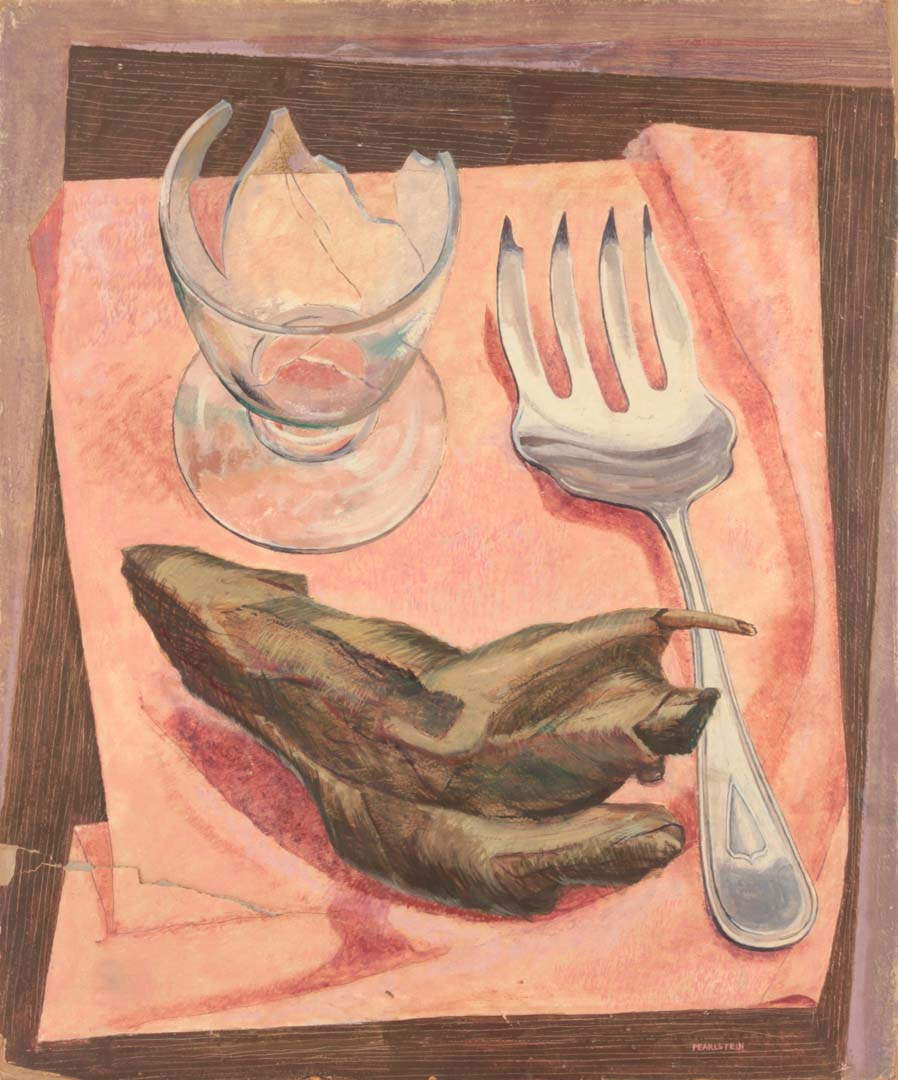 "1947 Still Life on Pink Cloth Casein on Masonite Board 24"" x 20"""
