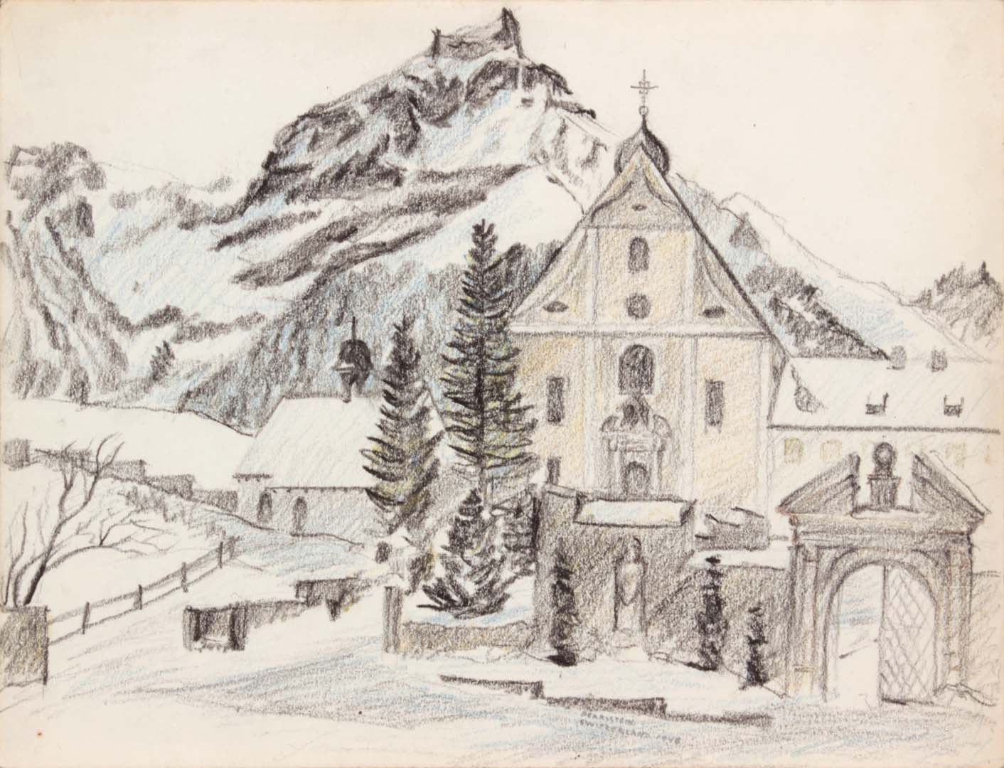 "1946 Alpine Village (Switzerland) Conte Crayon 9"" x 11.875"""
