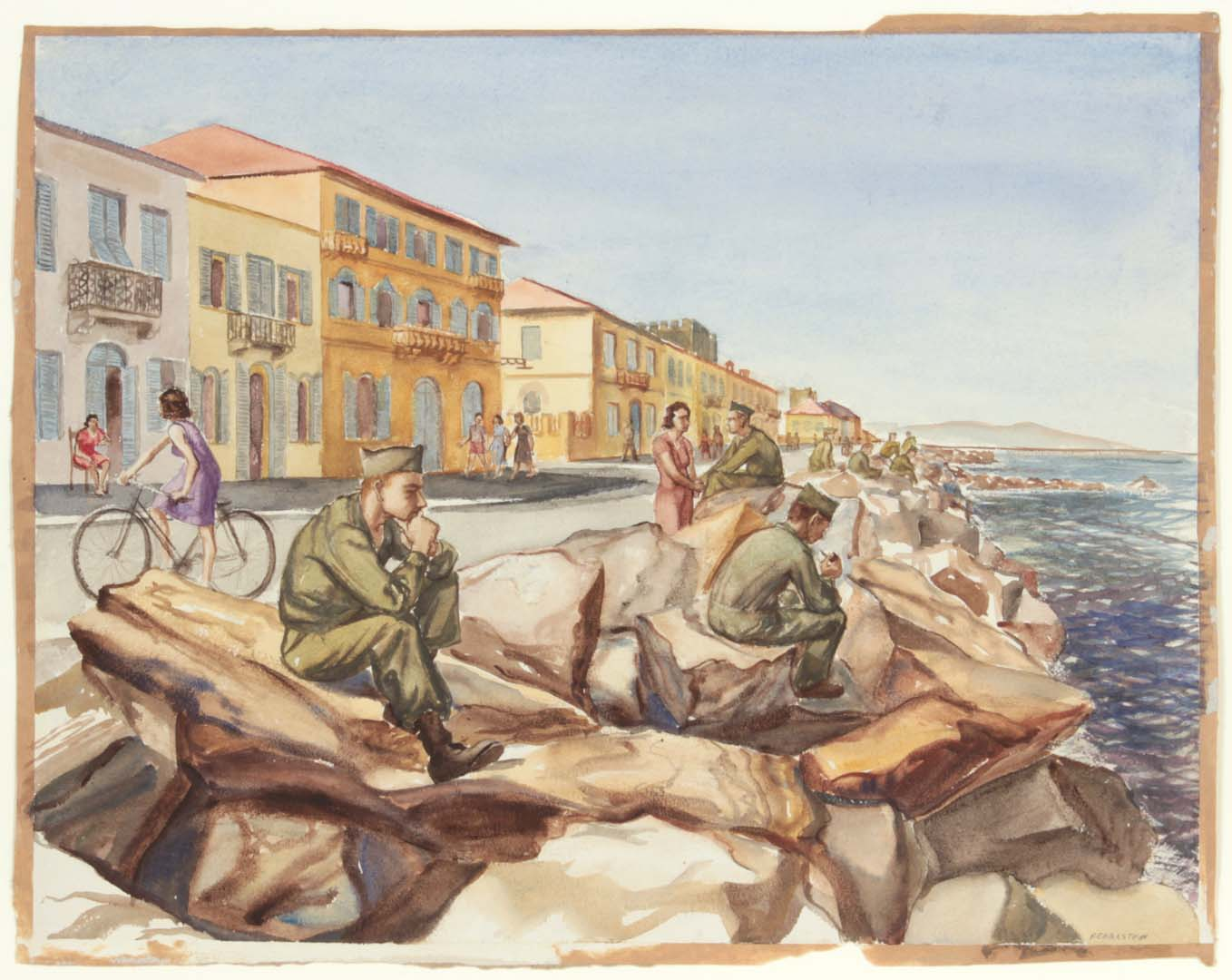 "1946 GIs at Marina di Pisa Breakwater Watercolor on Paper 14"" x 18"""
