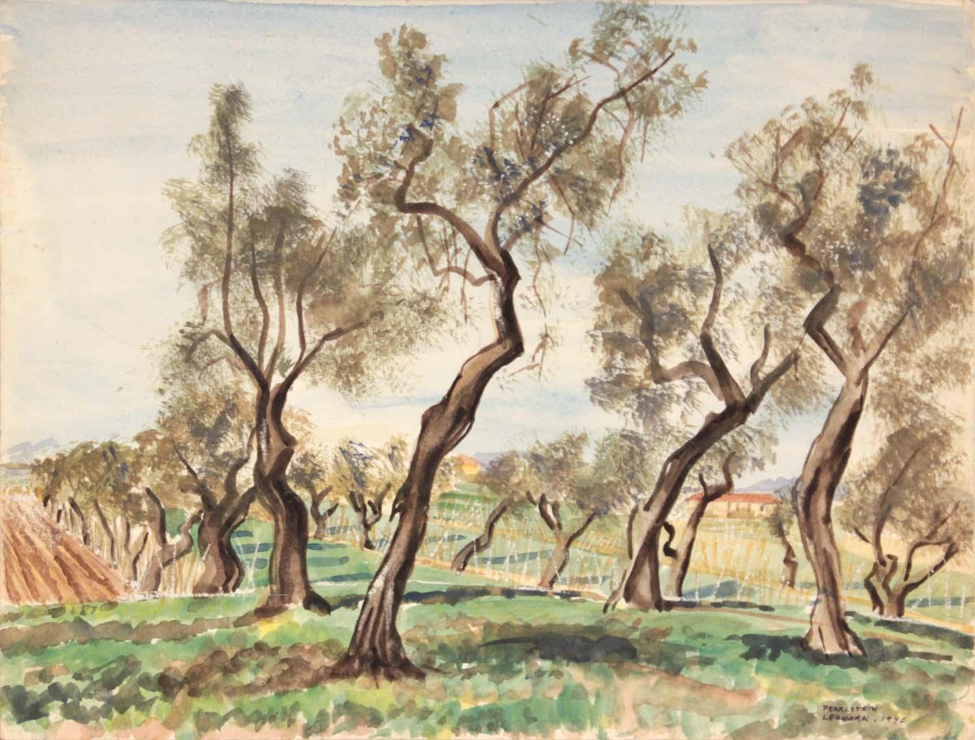 1946 Leghorn Watercolor 9 x 11.875