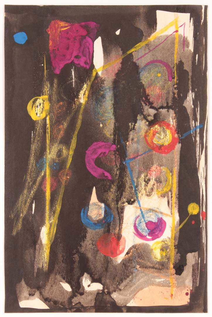 1947 NT (Circles and Lines) Ink Colored Chalk and Watercolor on Paper 8.4375 x 5.4375