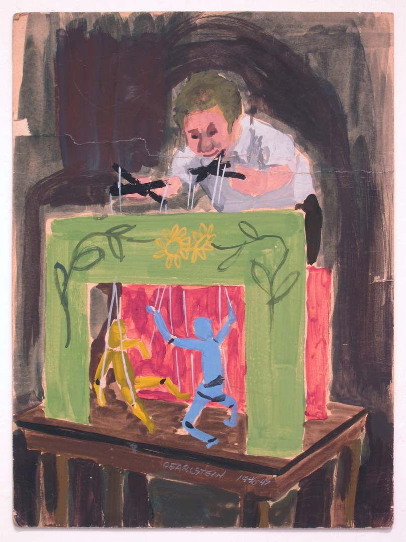 """1948 Self Portrait as a Young Puppeteer gouache on board 11"""" x 8"""""""
