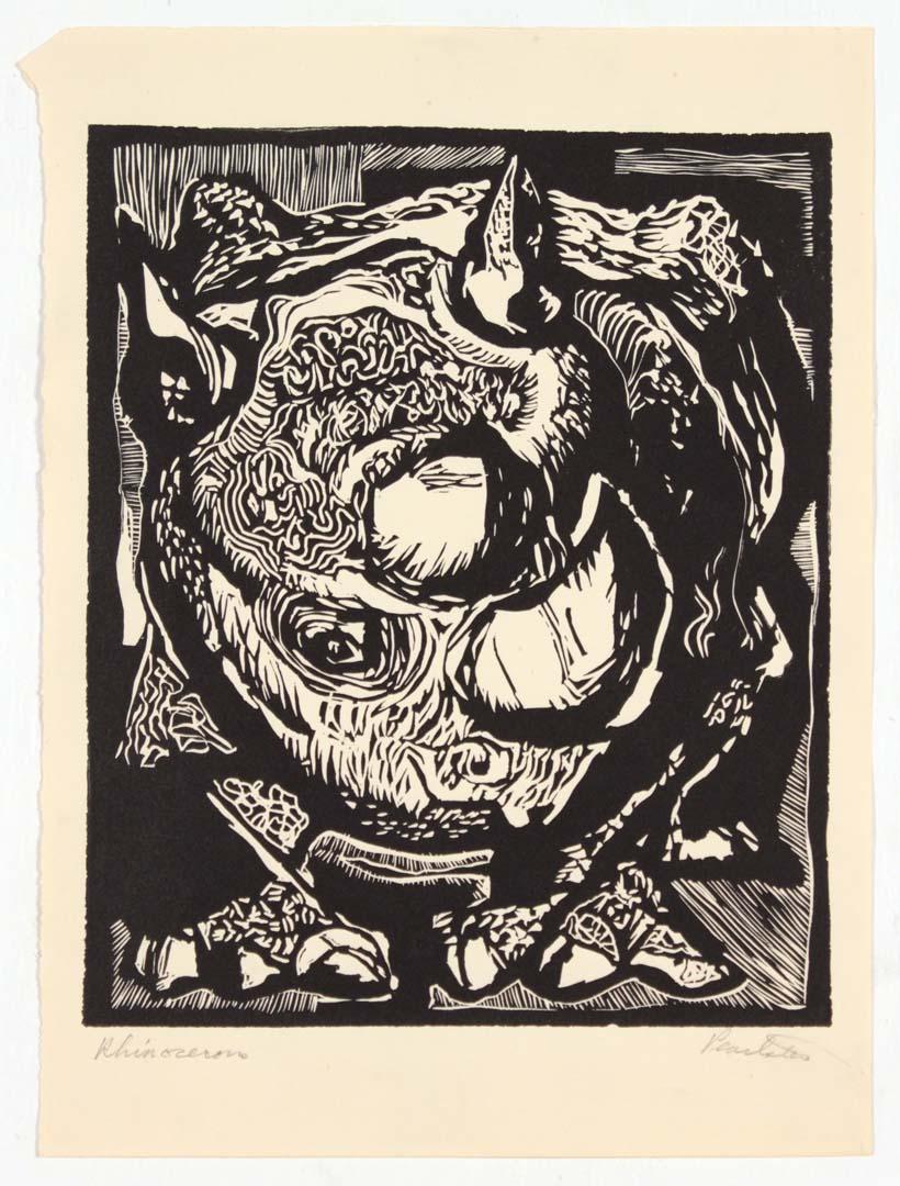 1948 Rhinoceros Linoleum Cut 11.25 x 8.3125