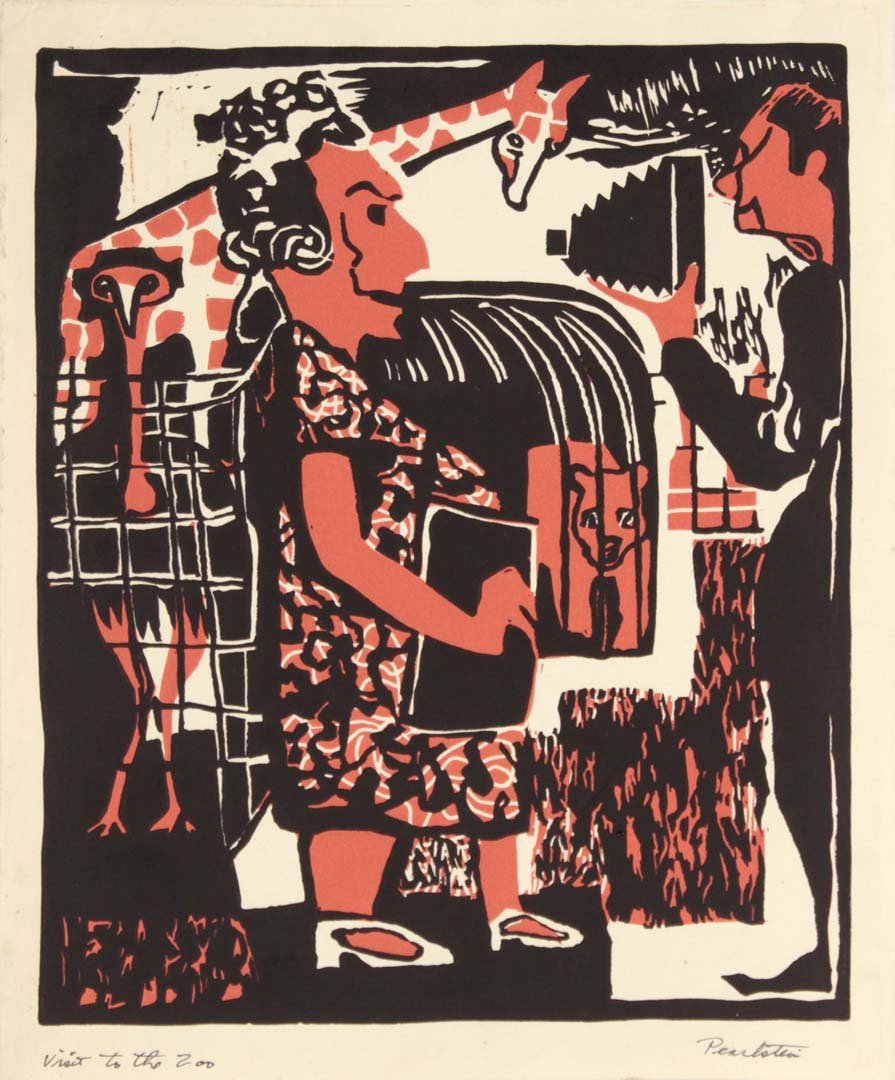 "1948 Visit to the Zoo Linoleum Cut 10"" x 8.25"""