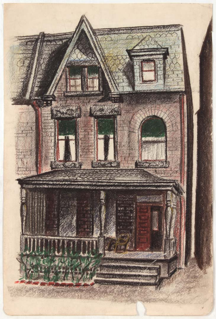 1948 House Conté Crayon and Pastel on Paper 17.375 x 11.8125