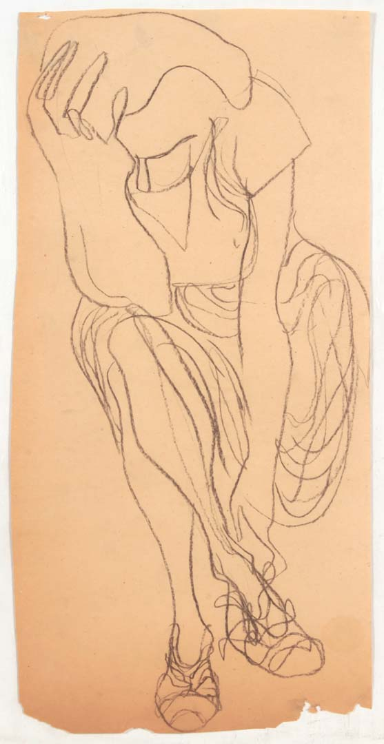 "1948 NT (Lady Holding Head and Fixing Shoe) Charcoal on Paper 22"" x 11"""