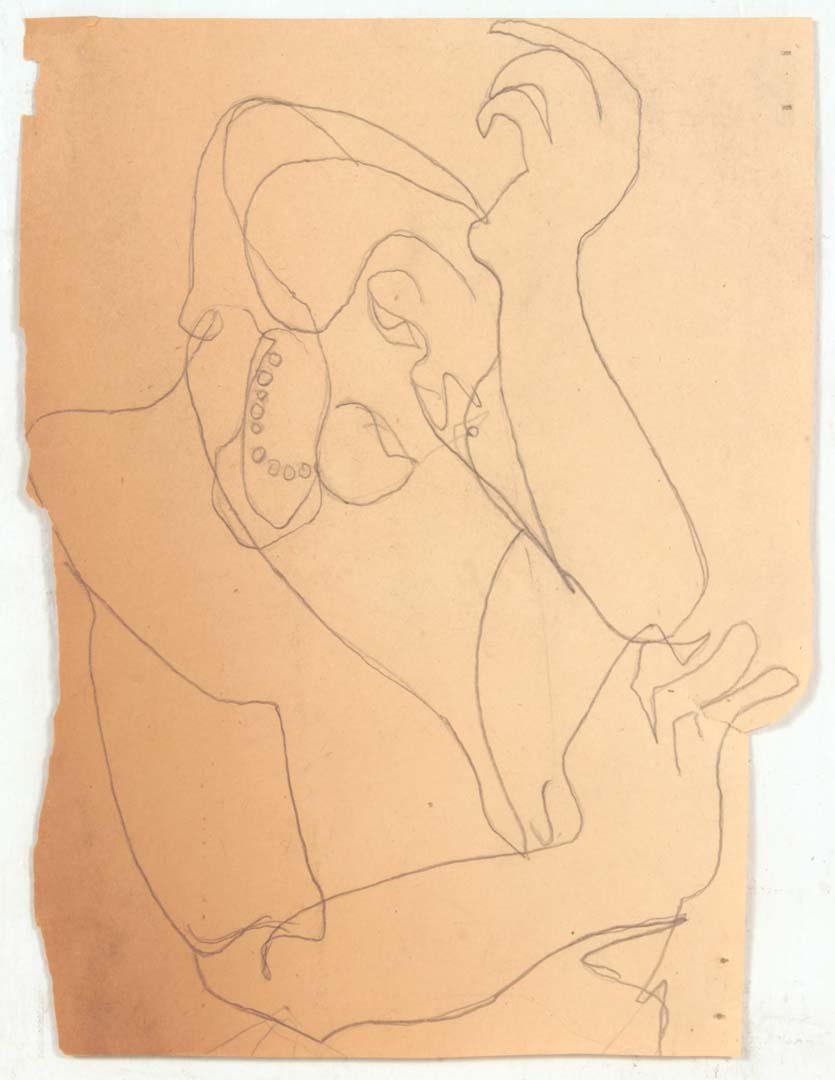 "1948 NT (Lady Holding Head with Pearls) Graphite on Paper 8.75"" x 6.75"""