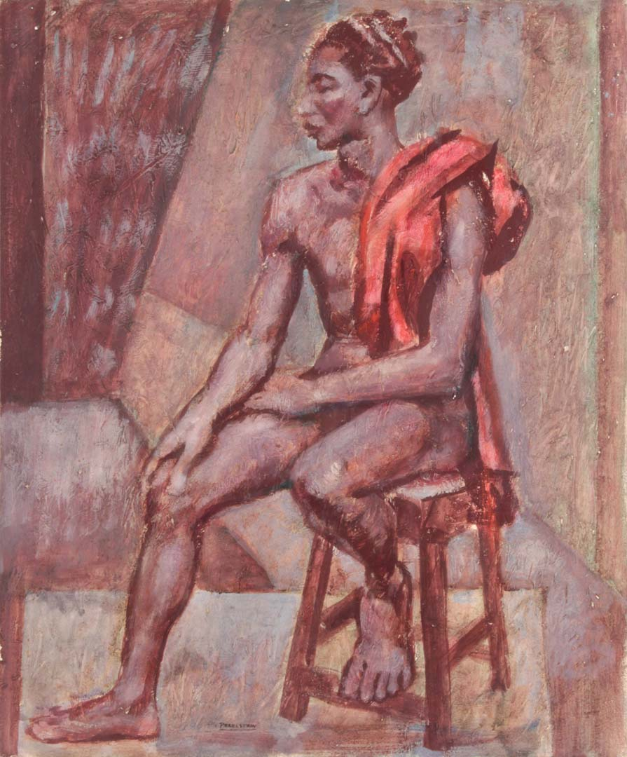 "1948 Seated Male Model Casein on Board 24"" x 20"""