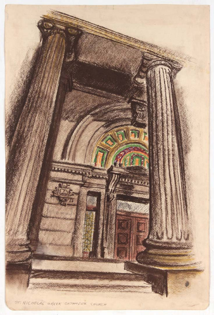 "1948 St. Nicholas Greek Orthodox Church Conte Crayon and Chalk on Paper 17.625"" x 11.75"""