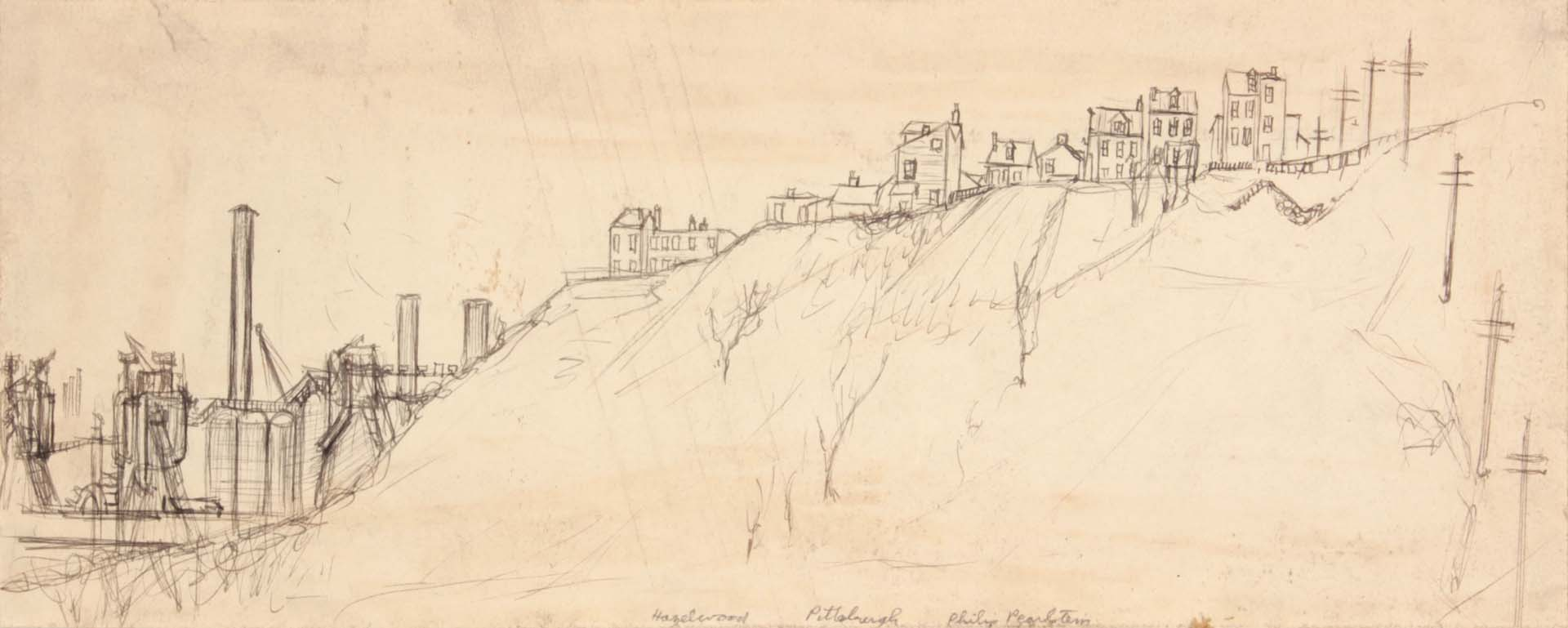 "1949 Hazelwood Pittsburgh Graphite and Pen and Ink on Paper 5.4375"" x 13.625"""