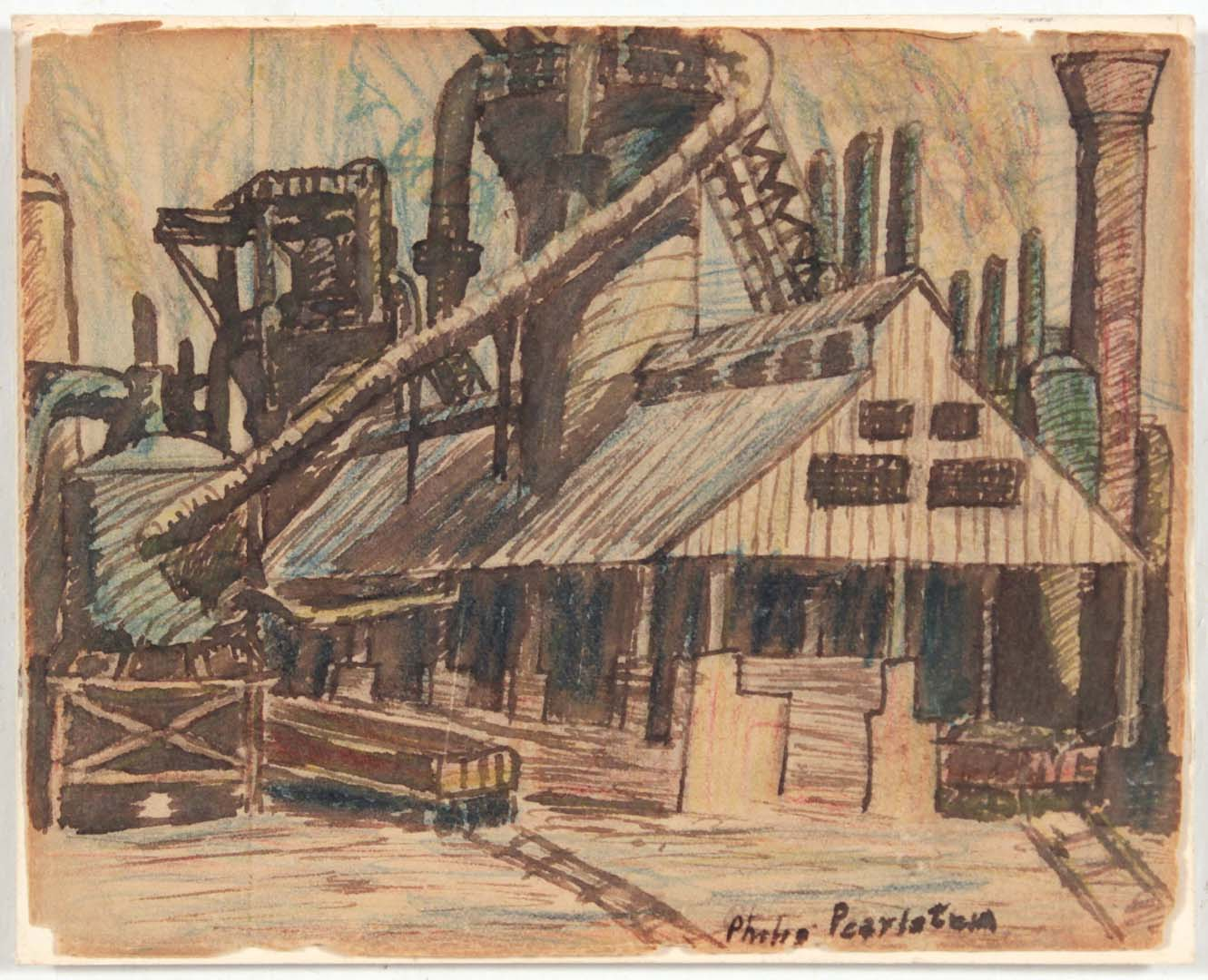 "1949 Image 38 (Pittsburg Factory) Wash and Crayon on Paper 4"" x 5"""