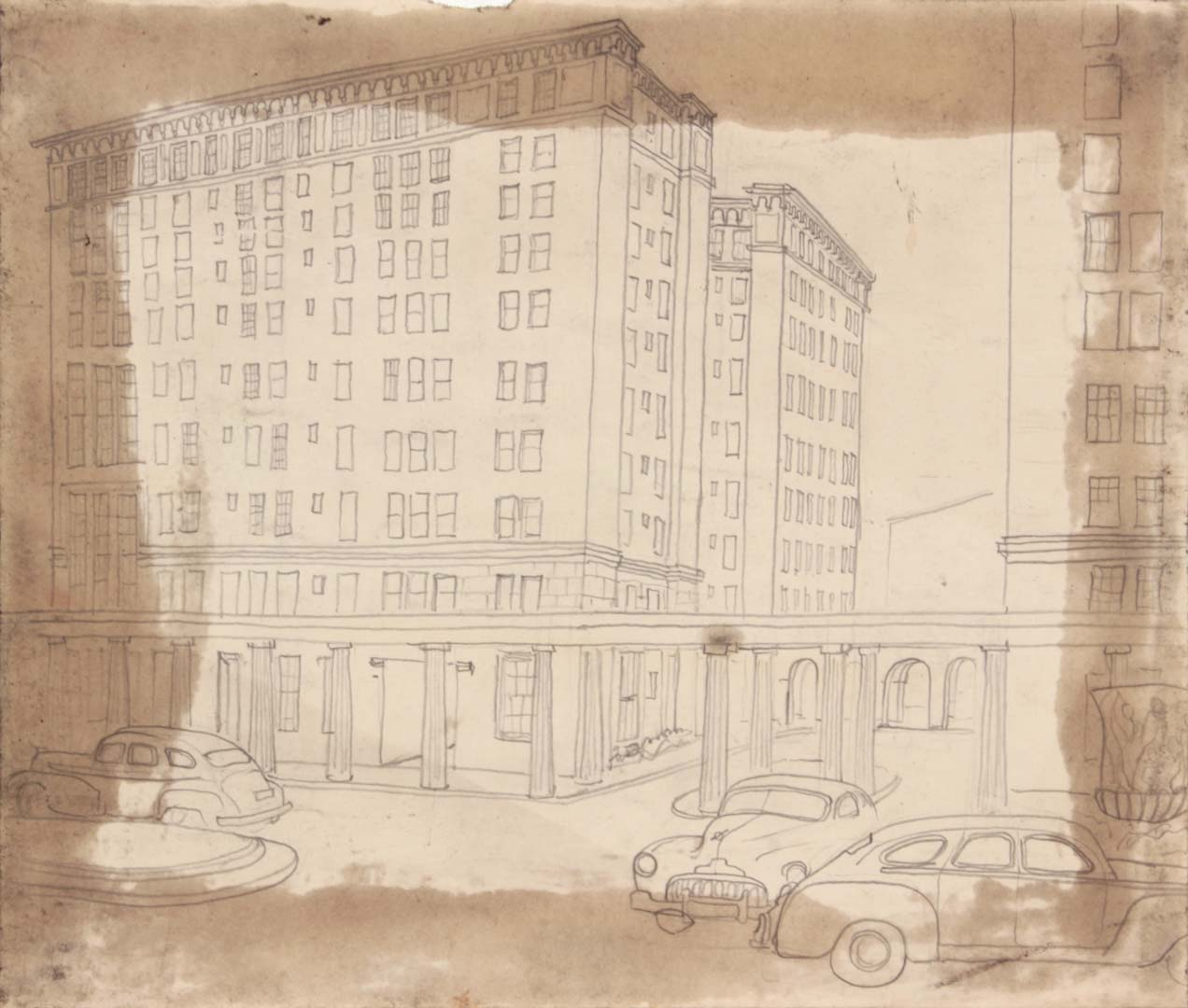 "1949 NT (Cityscape with Cars and Dorian Columns) Graphite on Paper 7.75"" x 9.125"""