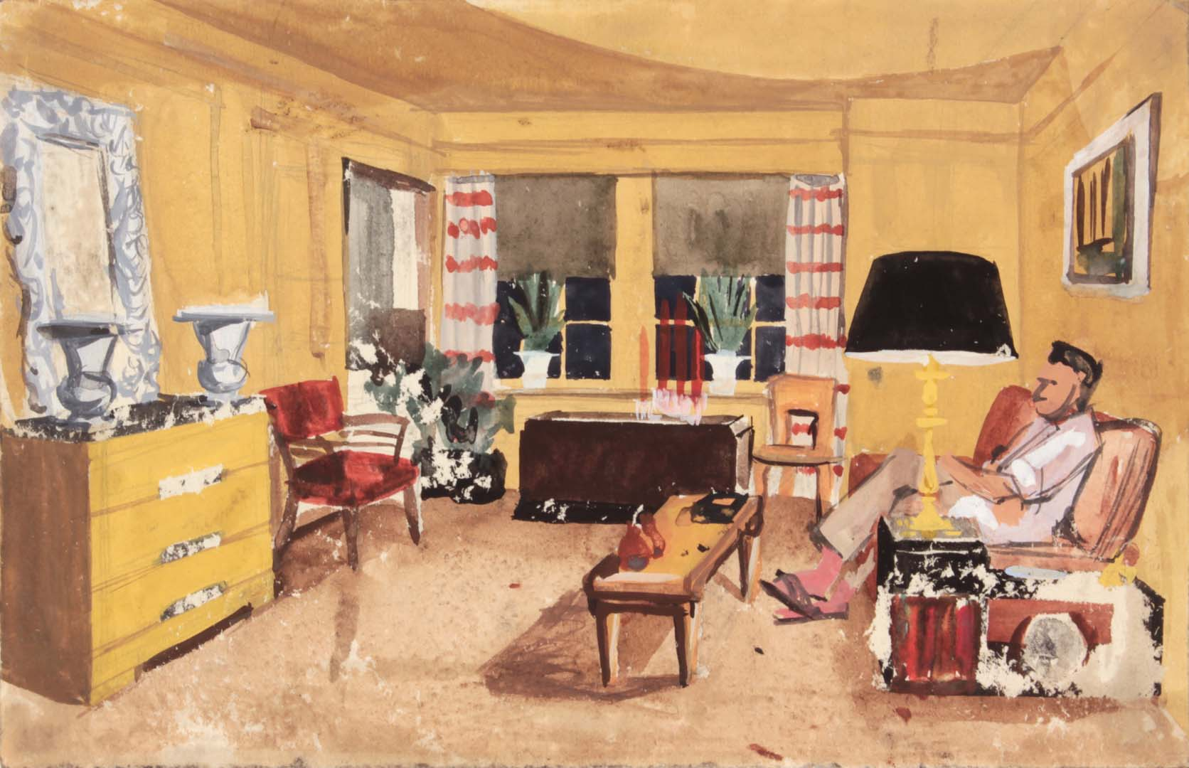 "1949 NT (Dwelling Spaces Living Room 1 Striped Curtains) Casein and Graphite on Paper 7.375"" x 11.50"""