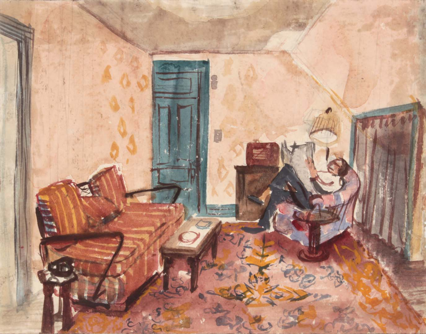 1949 NT (Dwelling Spaces Living Room 2 Green Door) Casein and Graphite on Paper 8.50 x 10.625