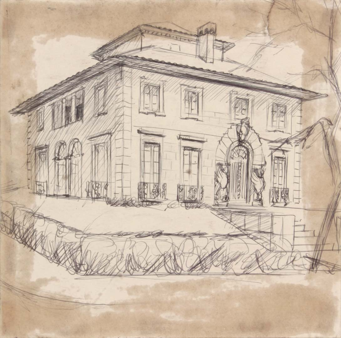 1949 NT (Mansion: Winged Door Posts) Pen and Ink on Paper 7.75 x 7.75