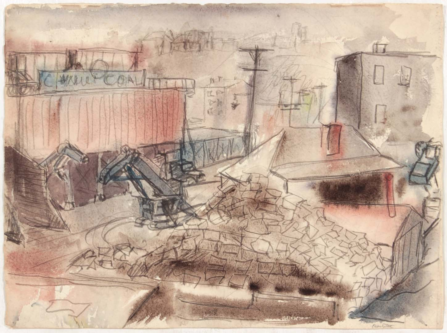 1949 NT (Pittsburgh Coal) Graphite and Wash on paper 12 x 16.25
