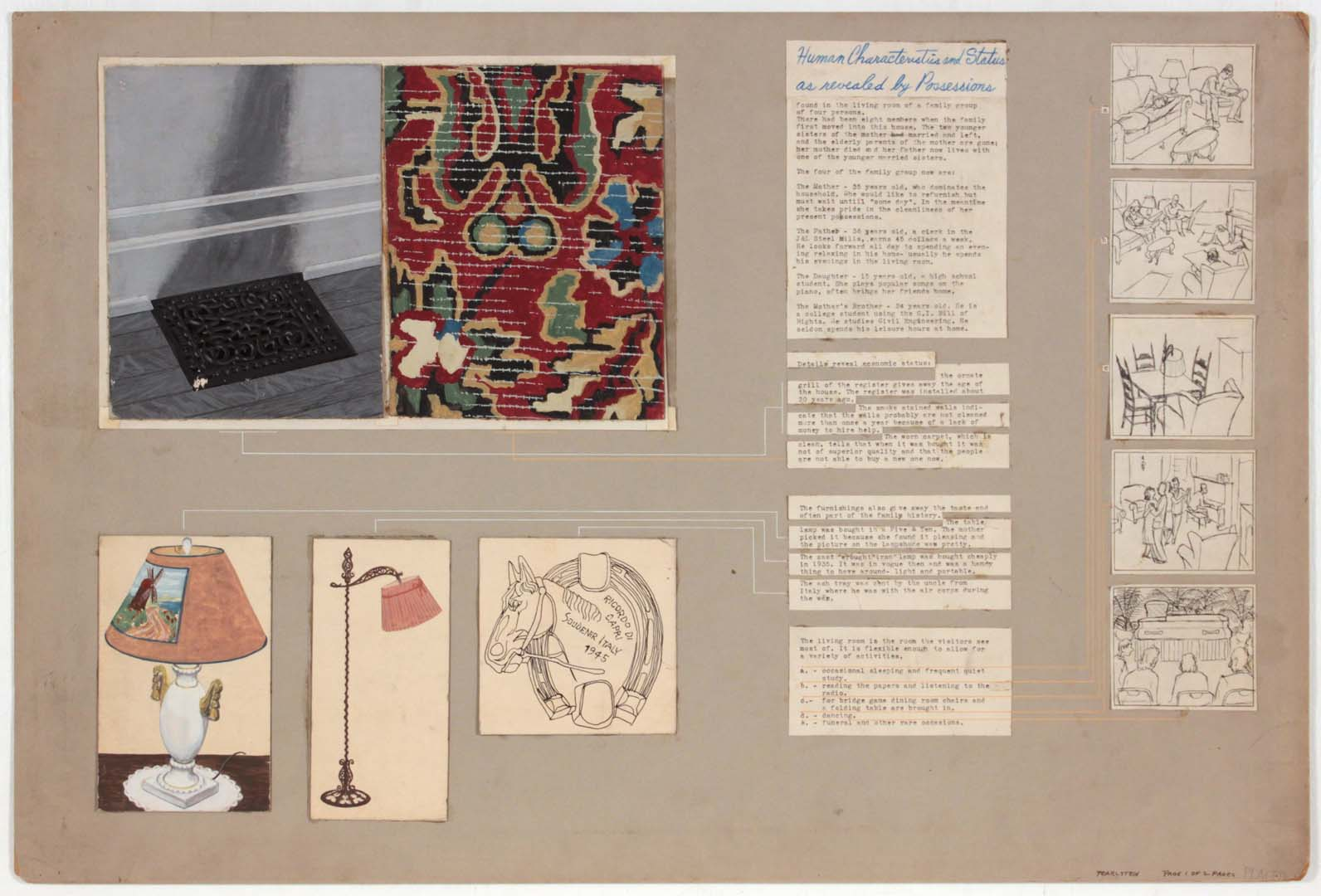 "1949 Student Work (Human Characteristics as Revealed by Possessions 1 of 2 Pages) Mixed Media Collage on Board 20.125"" x 30.125"""