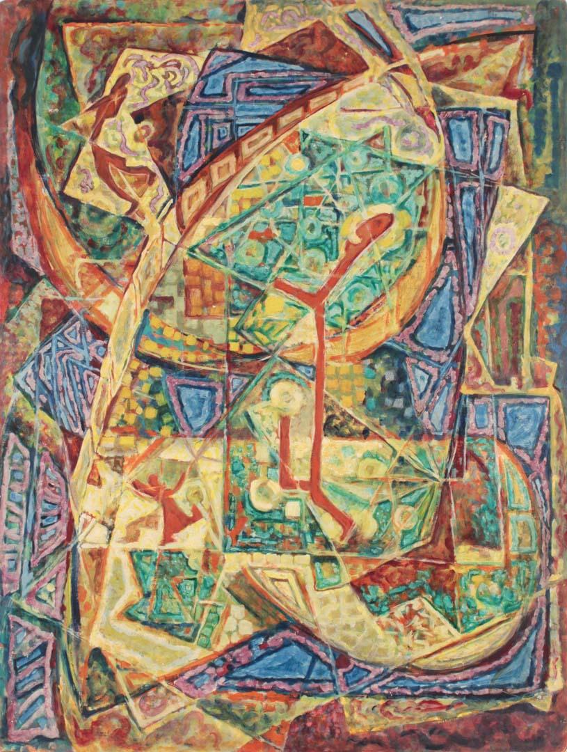 """1949 Ode to Joy Casein on Masonite 40"""" x 30"""""""