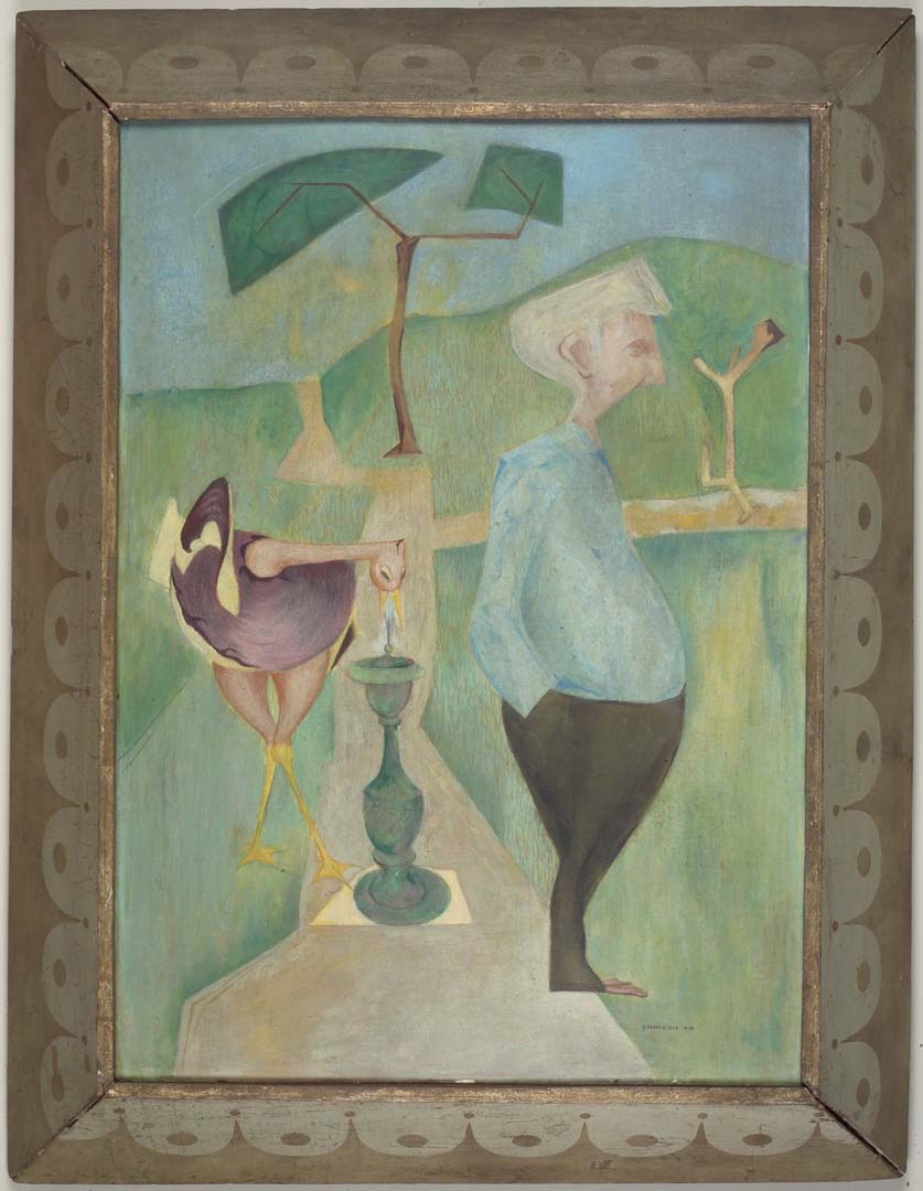 "1949 Portrait of George Klauber Casein on masonite 31.625"" x 24.375"""