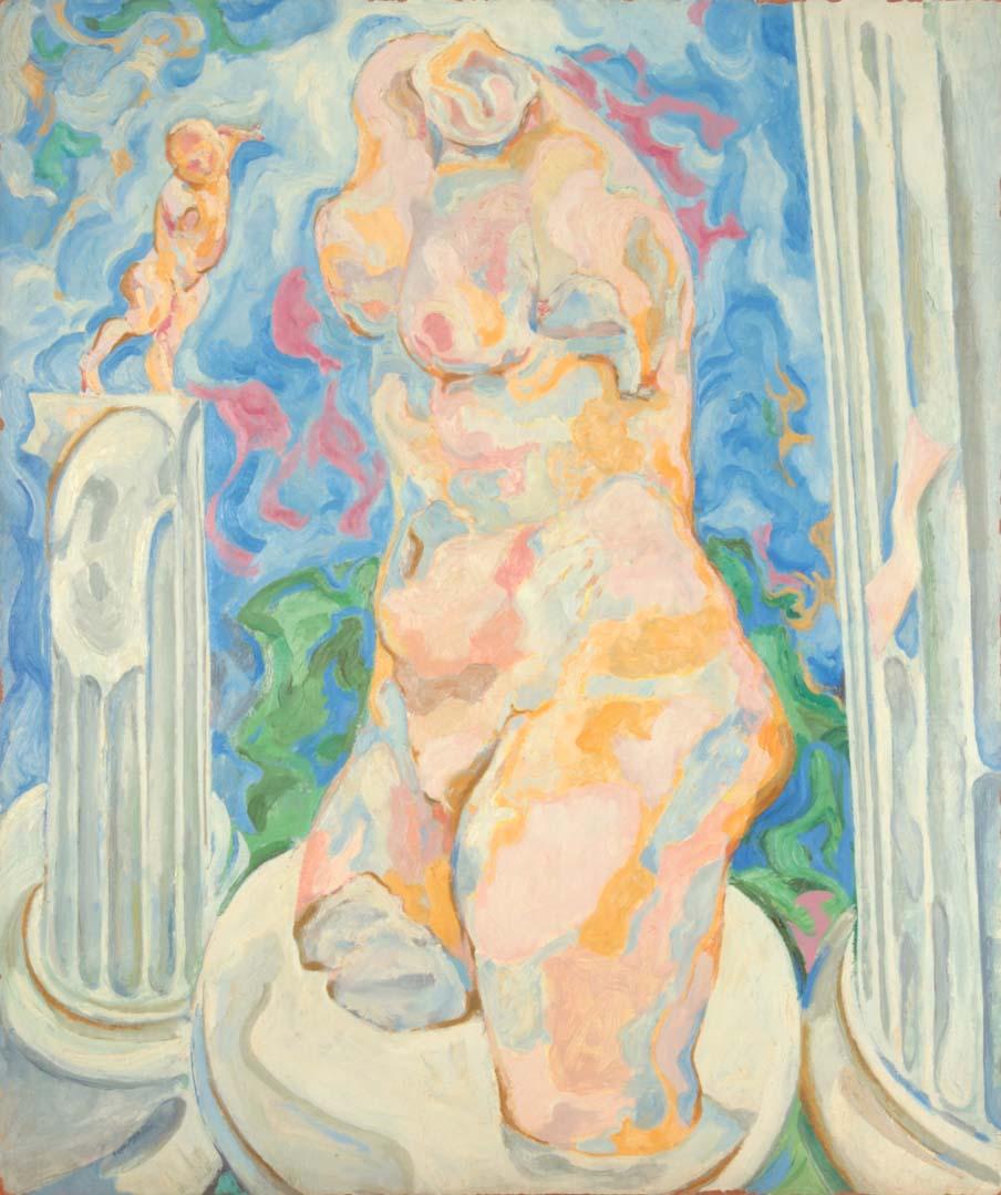 """1951 Venus with Columns Oil on Masonite Board 36"""" x 30"""""""