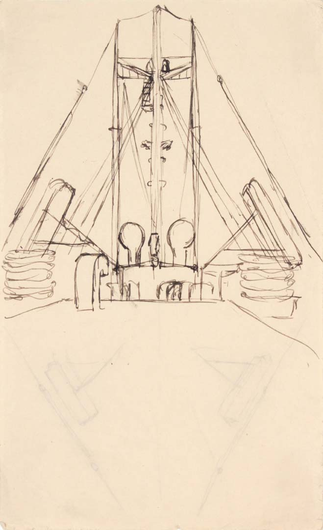 "1949 NT Pen and Ink on Paper 8"" x 4.9375"""