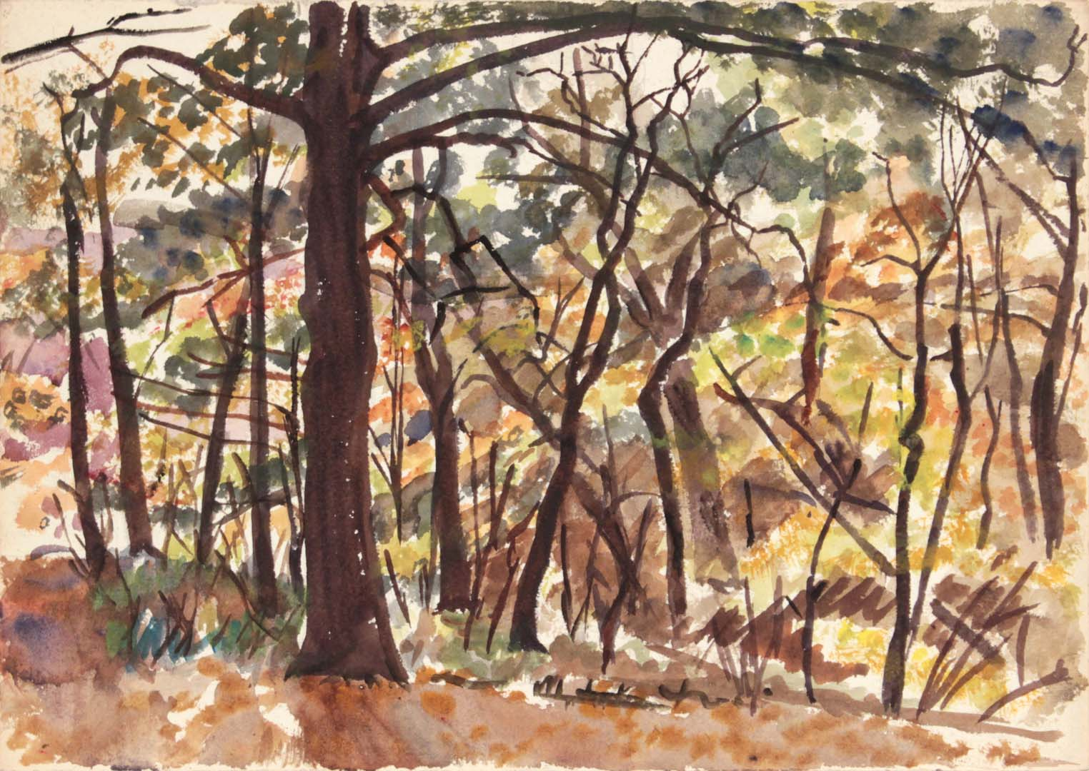"1946 Autumn Leaves in Pennsylvania Watercolor 9.875"" x 14"""