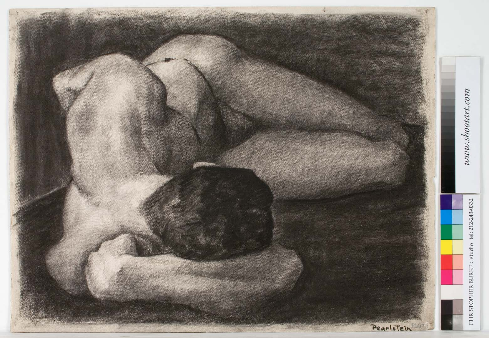 1948 Male Nude Reclining Charcoal on Paper 19 x 25