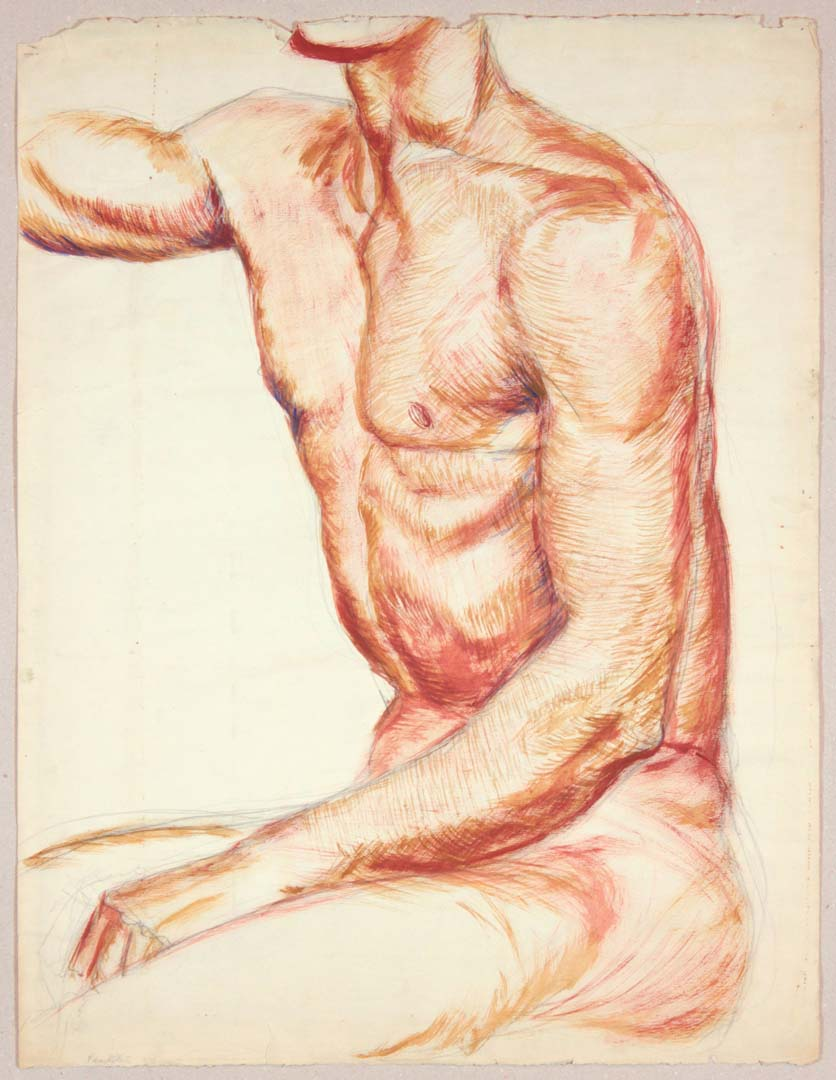 "1949 Seated Male Model Wash and Graphite on Paper 25.125"" x 19.125"""
