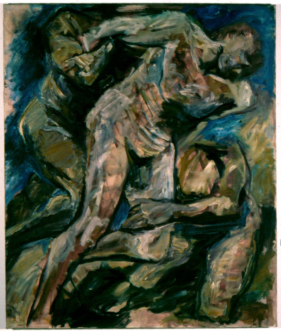"1953 Three nude men wrestling Oil on Canvas 36"" x 30"""