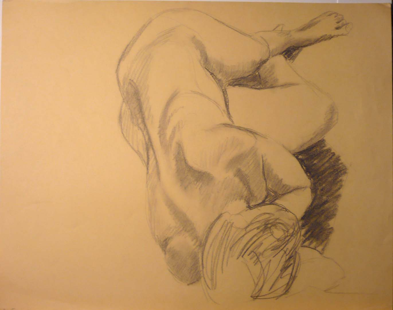 1956 Female Model Reclining Charcoal on Paper 19 x 24